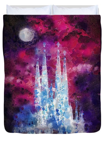 Barcelona Night Duvet Cover by Mo T