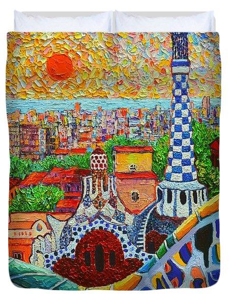 Barcelona Sunrise - Guell Park - Gaudi Tower Duvet Cover by Ana Maria Edulescu