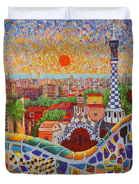 Barcelona Sunrise Light - View From Park Guell Of Gaudi - Square Format Duvet Cover