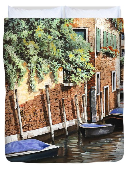 Barche A Venezia Duvet Cover by Guido Borelli