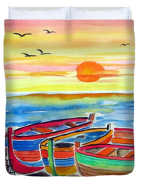 Duvet Cover featuring the painting Barche Dei Pescatori  by Roberto Gagliardi