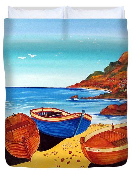 Duvet Cover featuring the painting Barche Siciliane by Roberto Gagliardi