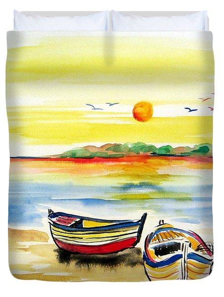 Duvet Cover featuring the painting Barchette In The Sunset by Roberto Gagliardi