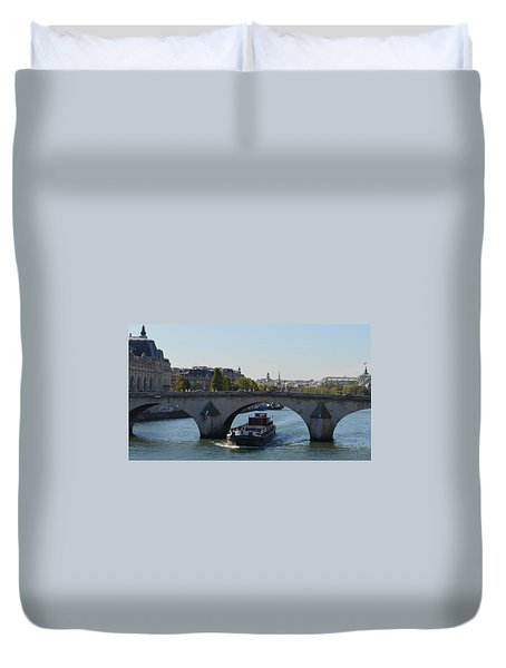 Barge On River Seine Duvet Cover