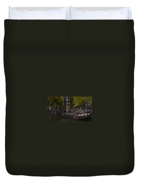 barges in Amsterdam Duvet Cover