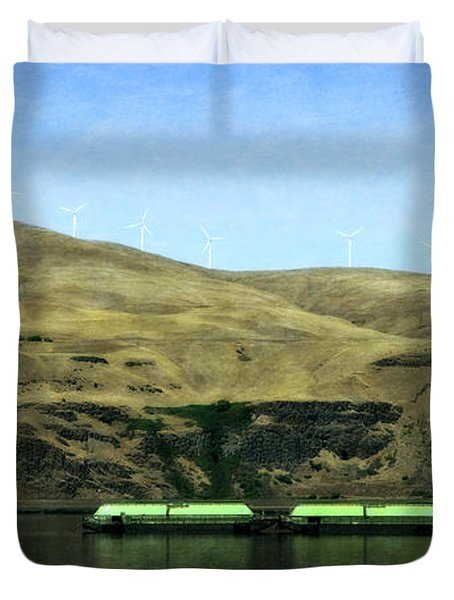 Barges On The Columbia Duvet Cover
