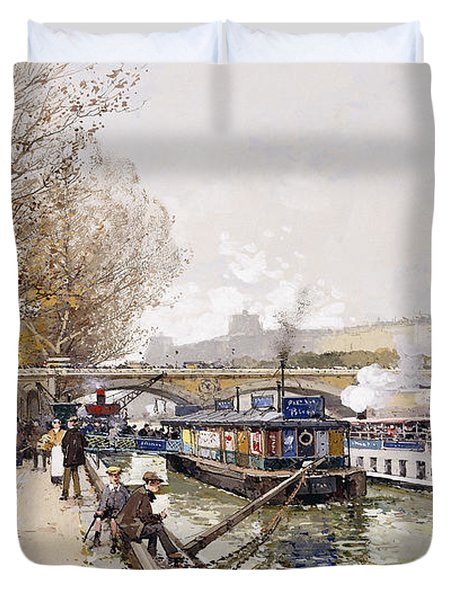 Barges On The Seine Duvet Cover by Eugene Galien-Laloue