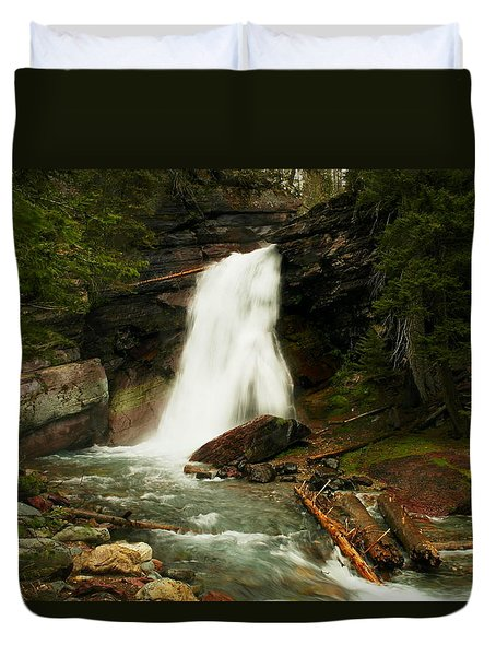 Baring Falls Glacier National Park Montana Duvet Cover by Jeff Swan