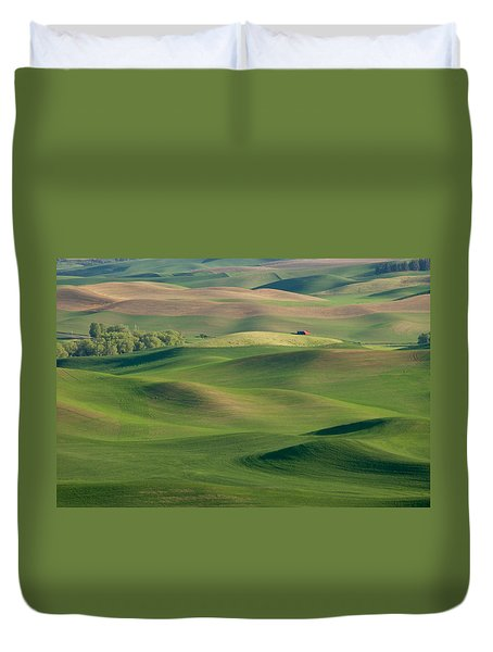 Barn Among The Contours Duvet Cover