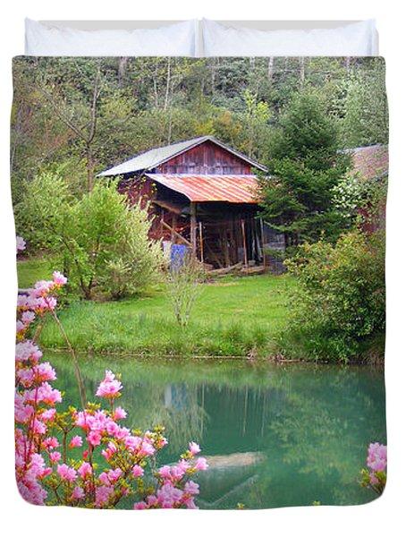 Barn And Flowers Near Pond Duvet Cover