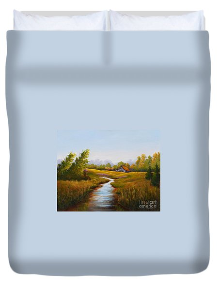 Barn And Stream Duvet Cover