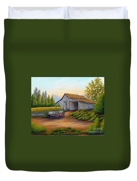 Barn And Wagon Duvet Cover