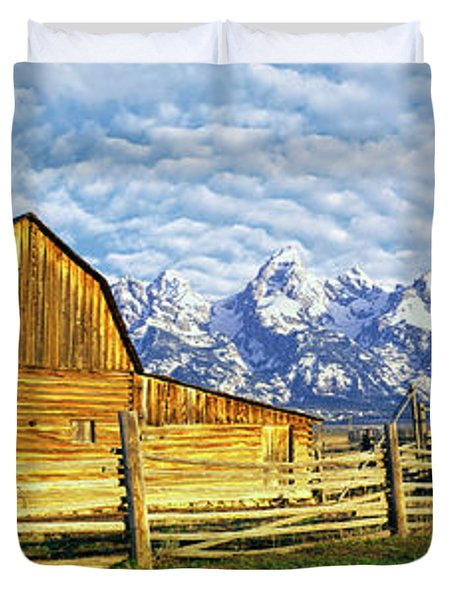 Barn In A Field With Mountain Range Duvet Cover