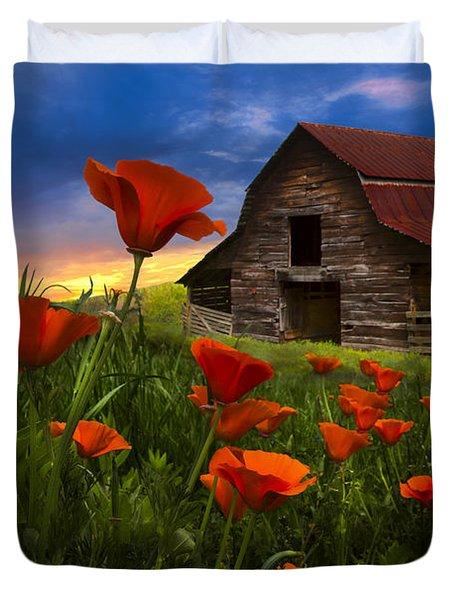 Barn In Poppies Duvet Cover