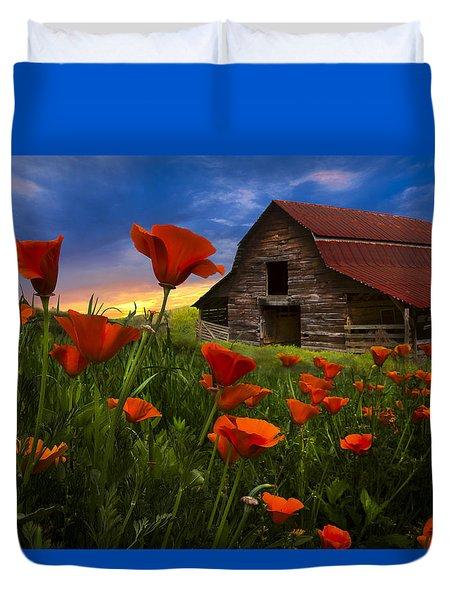Barn In Poppies Duvet Cover by Debra and Dave Vanderlaan