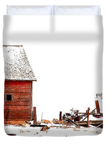 Duvet Cover featuring the photograph Barn In The Snow by Steven Reed