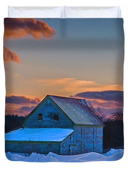 Barn In Winter Duvet Cover by Alana Ranney