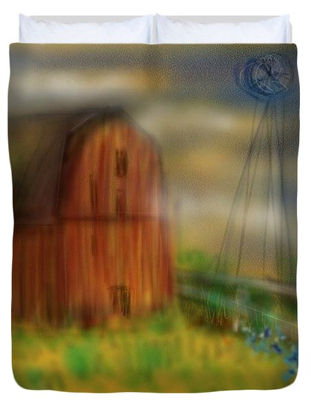 Duvet Cover featuring the painting Barn by Marisela Mungia