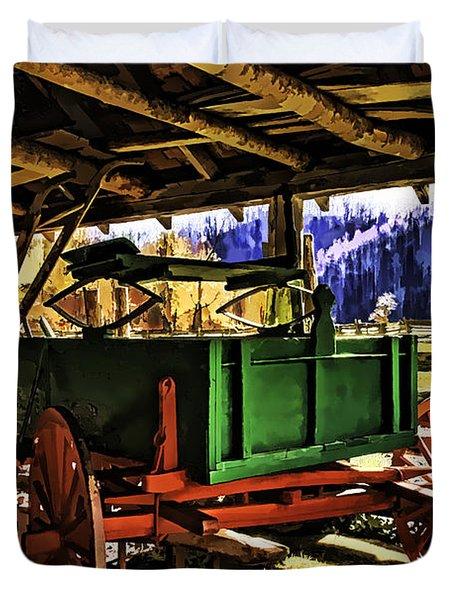 Duvet Cover featuring the painting Barn by Muhie Kanawati