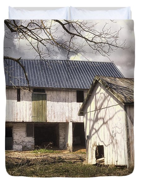 Barn Near Utica Mills Covered Bridge Duvet Cover by Joan Carroll