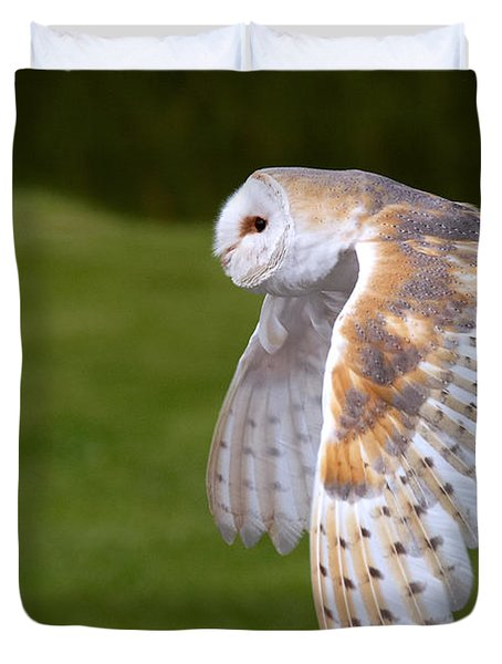 Duvet Cover featuring the photograph Barn Owl In Flight by Nick  Biemans