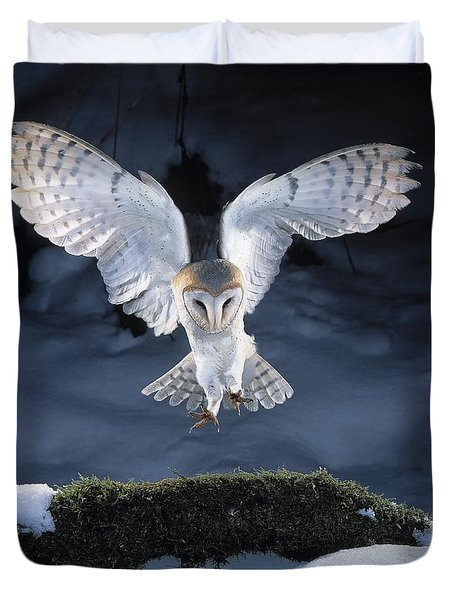 Barn Owl Landing Duvet Cover by Manfred Danegger