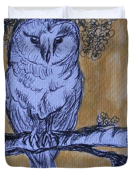 Duvet Cover featuring the painting Barn Owl by Teresa White
