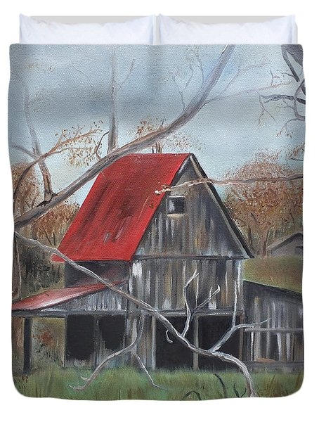 Duvet Cover featuring the painting Barn - Red Roof - Autumn by Jan Dappen
