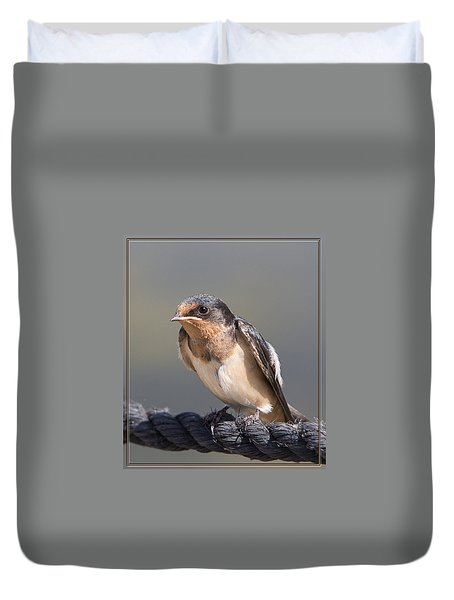 Barn Swallow On Rope I Duvet Cover by Patti Deters