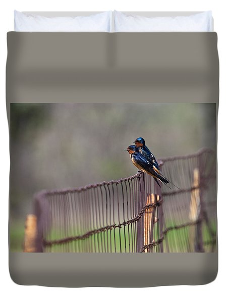 Barn Swallows On The Fence Duvet Cover by Mark Alder
