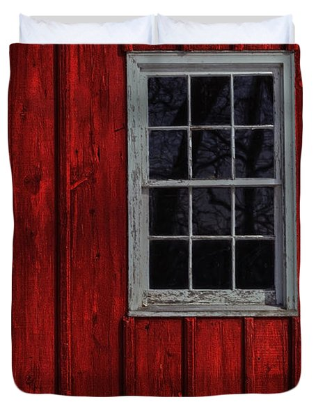 Duvet Cover featuring the photograph Barn Window by Debra Fedchin