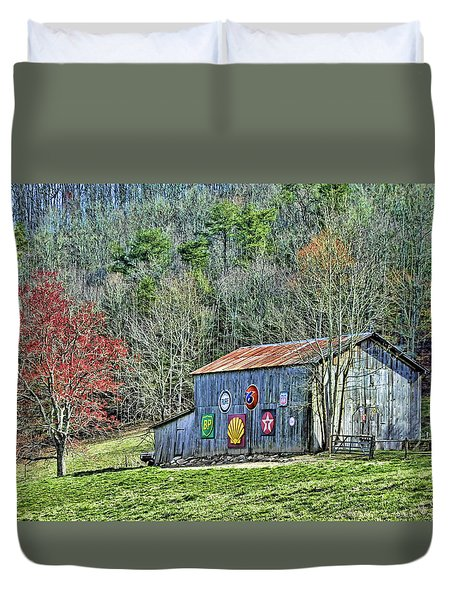Duvet Cover featuring the photograph Barn With Antique Signs by Kenny Francis