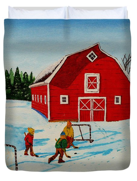 Barn Yard Hockey Duvet Cover by Anthony Dunphy