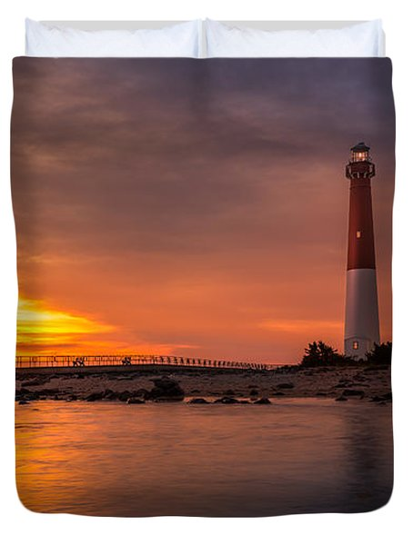 Barnegat Sunset Light Duvet Cover by Mihai Andritoiu