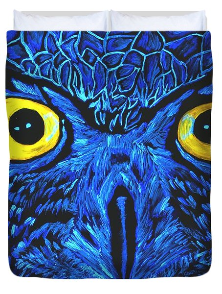 Duvet Cover featuring the painting Barney Black Light View by Lisa Brandel