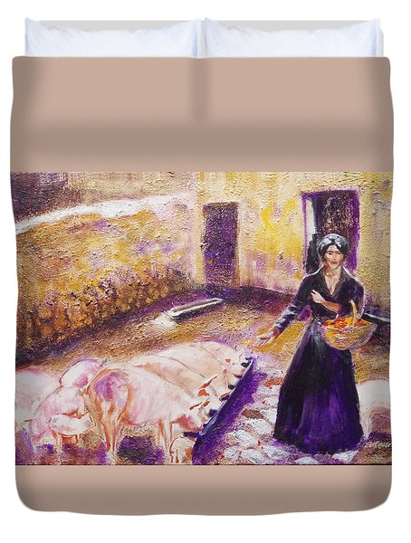 Barnyard Breakfast...chickens And Pigs Duvet Cover by Seth Weaver