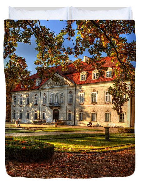 Baroque Palace In Nieborow In Poland During Golden Autumn Duvet Cover
