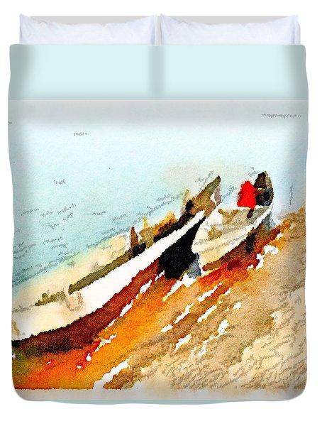 Barques Sur Le Chari Duvet Cover