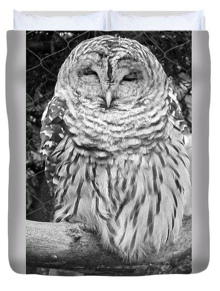 Barred Owl In Black And White Duvet Cover by John Telfer