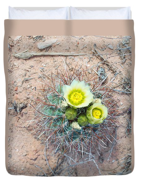 Barrel Cactus Blossoms Duvet Cover