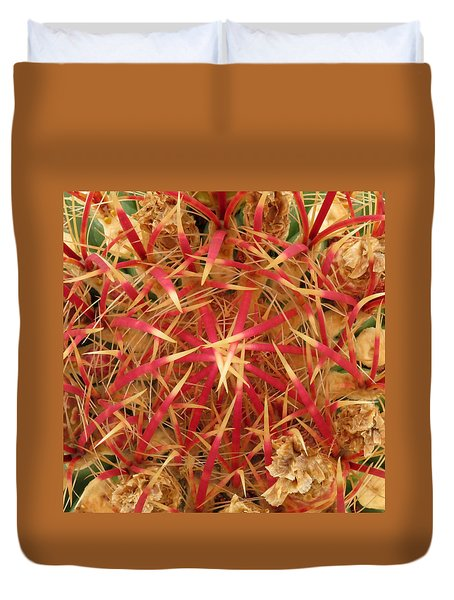 Duvet Cover featuring the photograph Barrel Cactus by Laurel Powell