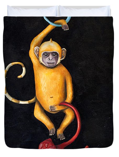 Barrel Of Monkeys Duvet Cover by Leah Saulnier The Painting Maniac