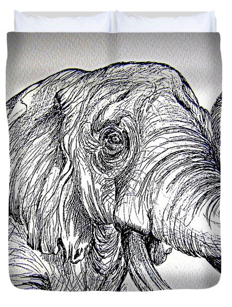 Duvet Cover featuring the painting Barrito  Dell Elefante by Roberto Gagliardi