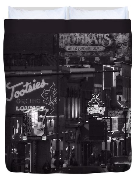 Bars On Broadway Nashville Duvet Cover by Dan Sproul