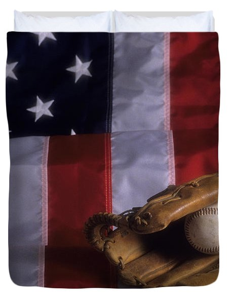 Baseball And American Flag Duvet Cover