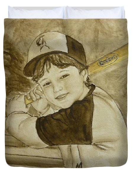 Duvet Cover featuring the painting Baseball At It's Best by Kelly Mills