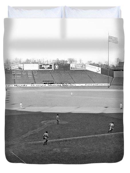 Baseball At Yankee Stadium Duvet Cover by Underwood Archives