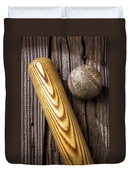 Baseball Bat And Ball Duvet Cover by Garry Gay