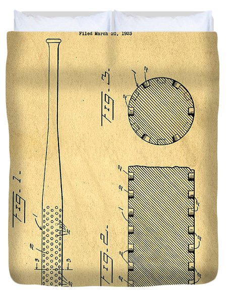 Baseball Bat Patent Duvet Cover by Edward Fielding