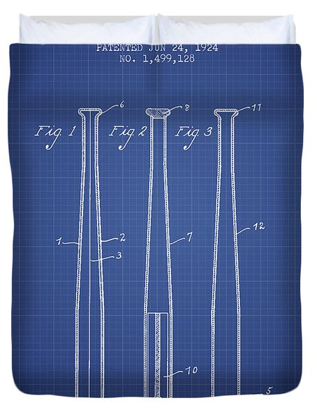 Baseball Bat Patent From 1924 - Blueprint Duvet Cover by Aged Pixel